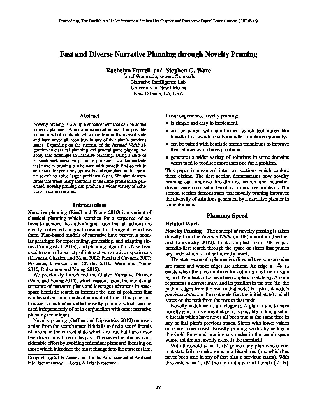 Fast and Diverse Narrative Planning through Novelty Pruning