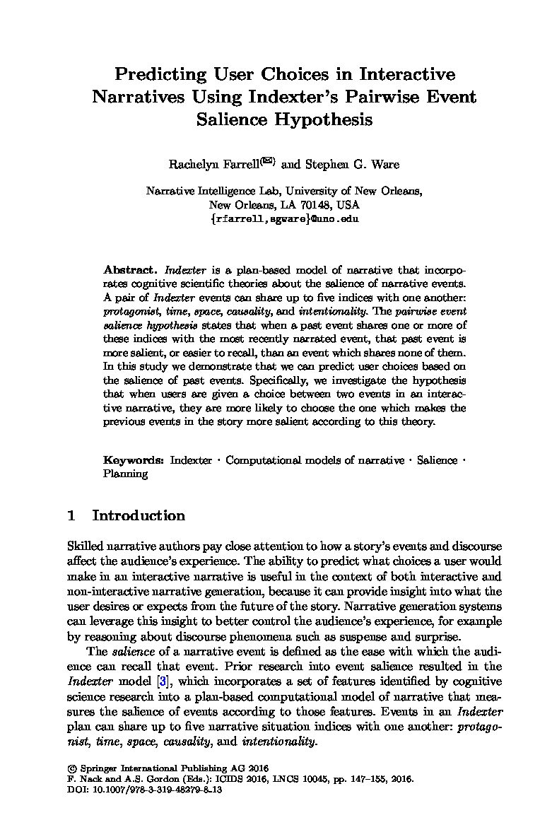 Predicting User Choices in Interactive Narratives using Indexter's Pairwise Event Salience Hypothesis